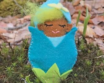 Fairy Baby Mini Sewing Kit, Felt Fairy Kit, Felt Doll Kit, Beginner Sewing Kit, DIY Sewing, Multicultural Doll - 'Sprout' Heidi Boyd