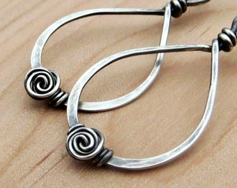 Sterling Silver Spiral Earrings, Wire Wrapped Teardrop Earrings, Eco Friendly Jewelry Gifts for Her