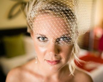 Wedding Veil, Bridal Veil,  French Net Veil, Bandeau Veil, Small Veil, VIntage Style Veil, White Bridal Veil, Ivory Bridal Veil, Veils