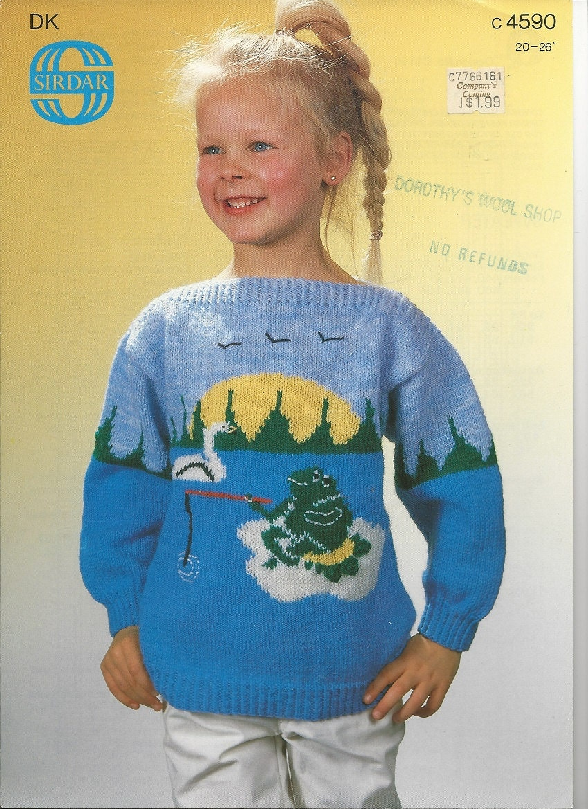 Knitting Pattern Graph Pattern FROG PULLOVER SWEATER