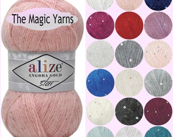 New Alize angora gold star. Payette sequins Lace weight Superfine yarn.Mohair, wool, fingering weight,fine, 3-4 ply,16 wpi,color choice