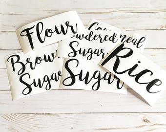 Pantry Label Set, Pantry Stickers, Flour Sugar Stickers, Kitchen Labels, Kitchen Organization, Sugar Flour Set Labels, Personalized Kitchen