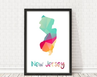 New Jersey State abstract map, New Jersey map poster, Digital art, Travel wall art, USA poster, PRINTABLE art, Usa map, New Jersey State map