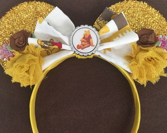 Custom Disney Winnie Whinnie The Pooh Hunny Yellow Sparkle floral Mouse Ears headband great Christmas Birthday Party Gift Favor