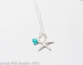 Blue Swarovski Starfish Necklace, Beach Necklace