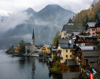 Austria - Alps - Mountain - Lake - Autumn - Fall - Fine Art Print - Rainy Hallstatt
