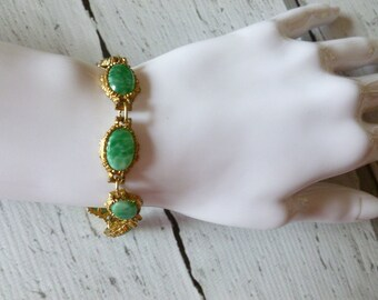 Vintage Marbled Green Gold Tone Bracelet, Vintage Jewellery, Gift for Her, Mother's Day