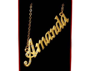 Name Necklace Amanda - Gold Plated 18ct Personalised Necklace with Czech Crystals