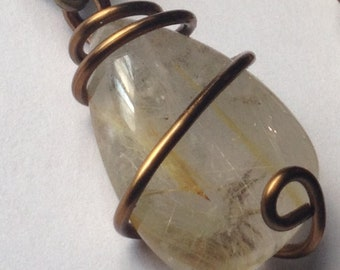 Quartz Stone with Gold Rutiles, Brass Wire-Wrapped Pendant, Stone Size 24 x 17 x 6mm (One Pendant)
