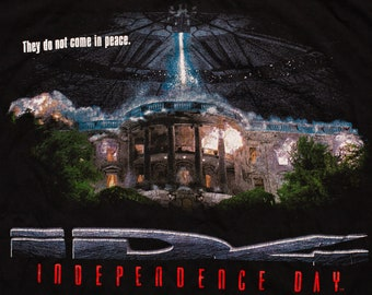 ID4 Independence Day Movie T-Shirt, XL, Aliens, Vintage 1990s, 1996 Film Promo, Sci-Fi Graphic Tee, UFO White House, Extraterrestrial