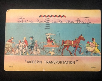"1947 ""Modern Transportation"" Postcard"