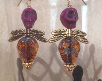 Purple Skull Fly Earrings