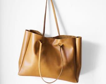 Camel Brown Leather Shopper / Nappa Leather Handbag / Leather Tote / Shoulder Bag / Brown Leather Bag / Leather Bag / Women's Handbag /