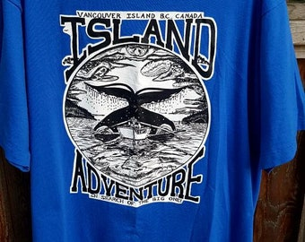Vintage 90s Vancouver Island Bc Canada  Adventure ... In Search Of The Big One ... Tee XL Made in Canada