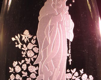 Virgin Mary Vase~ Personalized Vase ~Custom Engraved Vase~ Religious Vase~ Virgin Mary Flower Vase