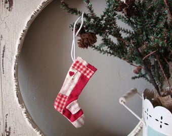 Vintage christmas mini stocking ornament farmhouse red and white cottage chic christmas decor ticking fabric stocking bag ornament