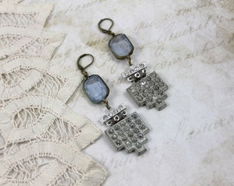 Art Deco Assemblage Dangle Earrings, Crackle Blue Art Deco Earrings, Blue Bridal Earrings, Art Deco Statement Earrings, Deco Bridal Earrings