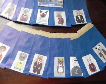 12 Kraft envelopes animal COSTUMES color bleue7 x 12 cm
