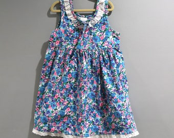 Vintage Dress Youth Girls Size 5 Sleeveless Floral