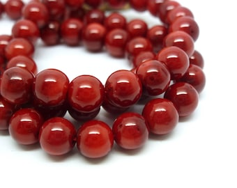 8 round dyed coral beads 6mm red dark (8SPC03)