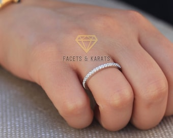 Diamond Wedding Band Solid Platinum 950 Round Cut Best Simulated Diamonds 0.50 Carat Half Eternity Pave Wedding Band by FACETS and KARATS