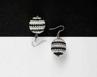 Crochet Earrings, Black White Earrings, Quirky Earrings, Boho Earrings, 16th Birthday Gift for Her, Charity Earrings, Charity Donation