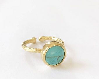 Adjustable Circle Mint Turquoise Ring
