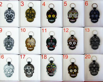 Leather Black Sugar Skull  | key chain for bag | Keyring | Day of the Dead | Dia de Muertos Keychain | Mexican skull | Calavera