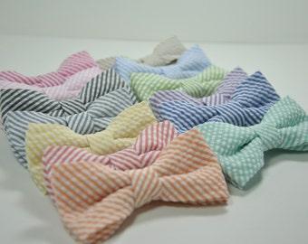 Boy's Seersucker Bow Ties, Boys Bow Tie, Seersucker Wedding Ties, Children's Bowtie