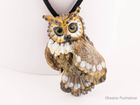 Glass brown Owl necklace Lampwork pendant. Handmade owl jewelry, owl withyellow eyes, gift idea for friend, Lampwork owl necklace
