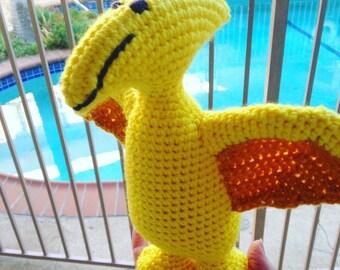 Yellow Pterodactyl, Yellow Pteranodon, Yellow Dinosaur, Pterodactyl Toy, Dinosaur Plushie, Dino Stuffed animal, Handmade Dinosaur Yellow