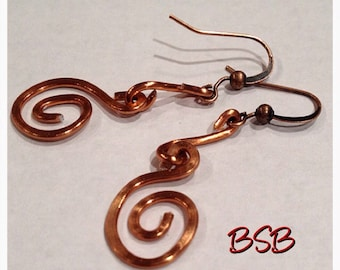 Hammered copper wire earrings free shipping