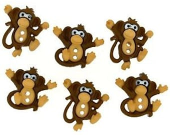 SET of 6 TOO Cute Adorable 2 Hole Monkey Sewing Buttons