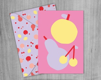 Pink Apples & Pears Greetings Card, Envelope and Wrapping paper Pack. A4 Printable digital download.
