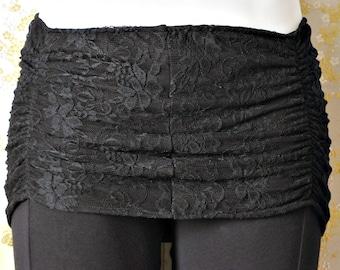 Black Lace Miniskirt Overskirt for Tribal Belly Dance and Hoop Dance