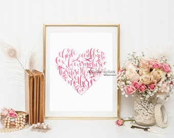Personalized Mother's Day Heart Print God Could Not Be Everywhere, and Therefore He Made Mothers Day Gifts Mother's Day Printable