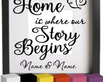 Home is where our Story Begins v2 Vinyl Glass Block / Photo Frame Decal / Sticker/ Graphic, Gift for new home, house warming