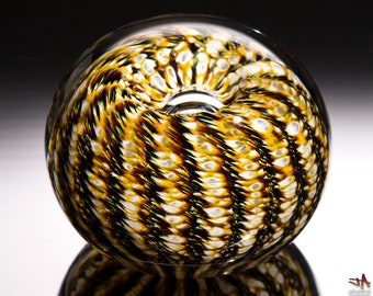 White Brown and Gold Sea Urchin / Sand Dollar Handcrafted Glass Paperweight - Small