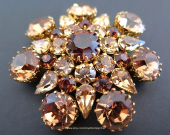 Vintage Topaz Brooch Signed Austria Amber Rhinestones Gold Tone Pin Designer Quality