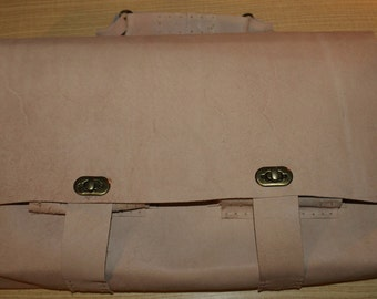 Large leather bag, laptop holder, hand-stitched, unique and customizable design - Totally handmade in Italy!