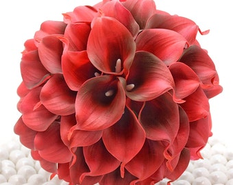 Deep Red Wedding Bouquet - Four Dozen Real Touch Artificial Calla Lilies - Select Ribbon and Pin Colors
