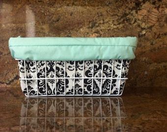 Turquoise Mint Light Pink or Black Damask Bicycle Basket Liner with Pocket