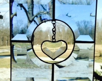 Suspended Small Clear Beveled Glass Heart in Blue Beveled Glass Frame