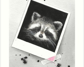 A watercolor painting of Woodlands Animals. This Raccoon art is perfect for a woodlands nursery decor. By Helga McLeod