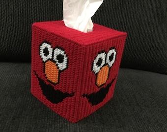 Elmo Handmade Plastic Canvas Tissue Box Cover, Tissue Topper