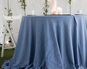 Round linen tablecloth, 16 colors, Round tablecloth, Tablecloth, Linen tablecloth, Tablecloths, Blue tablecloth, Blue linen tablecloth Round