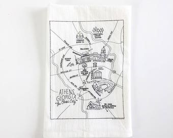 Athens, Georgia Map Flour Sack Towel
