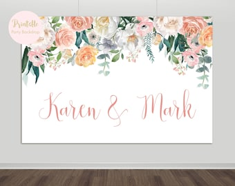 Printable Floral Wedding Backdrop, Bridal Shower Backdrop, Floral Backdrop, Photography Backdrop, Wedding Photo Booth, Peach, YOU PRINT