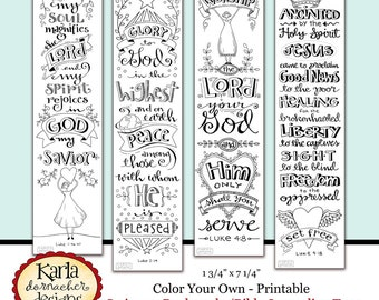 Luke 1-4 Color Your Own Bible Bookmarks Bible Journaling Tags INSTANT DOWNLOAD Scripture Digital Printable Download Christian Religious