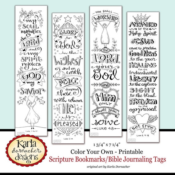 Luke 1 4 color your own bible bookmarks bible journaling tags for Religious bookmark templates